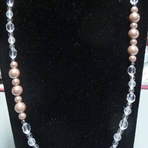 NWT WHBM Rose Gold Color Clear Bead Necklace 35 in